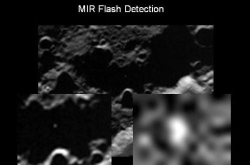 First Image of Actual Moon Bombing Impact
