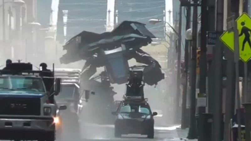 The Batwing from Dark Knight Rises Takes Out Some City Property