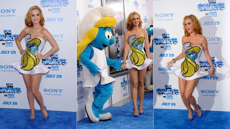 Katy Perry's Tiny Dress Is Totally Smurfed Up