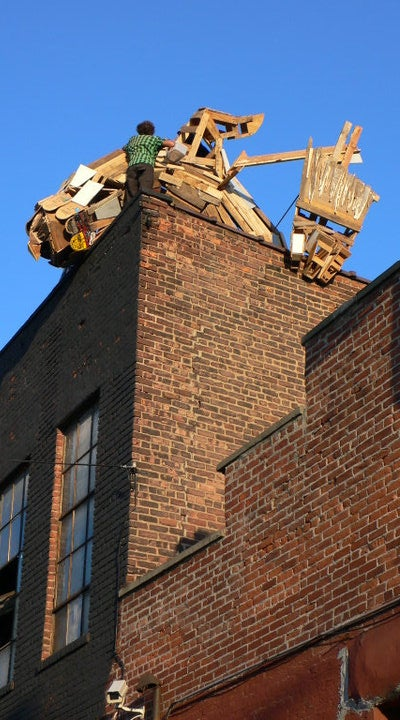 A leering wooden griffin is on the prowl in Brooklyn