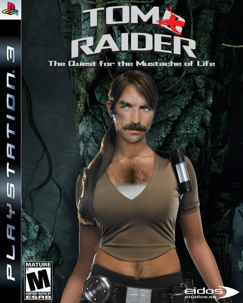 Tom Selleck Plus Lara Croft Equals Throw Up In Mouth
