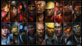 The worst thing about this wallpaper? Having to cover it in icons. Redditor wrathes took a couple months to draw a lineup of Team Fortress 2's cast, in both Red and Blue flavors, recently presenting it in the form of a sweet 1080p wallpaper.