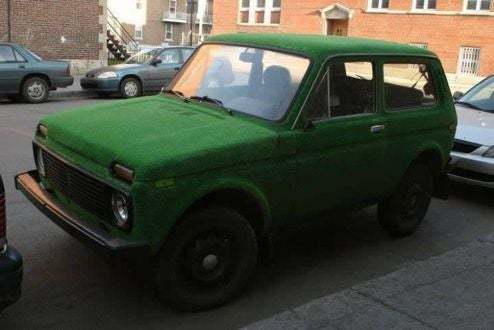 Astroturf-Covered Lada Niva Brings New Meaning To Driving Range