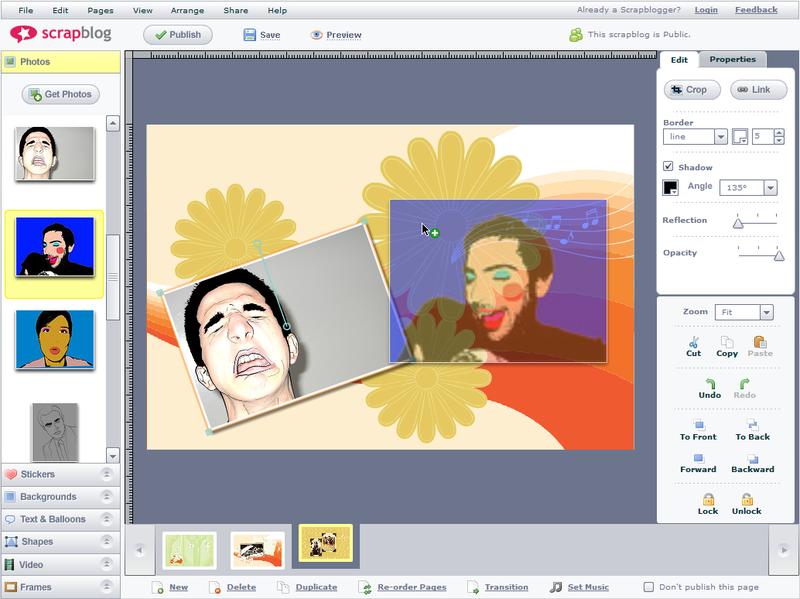 Screenshot Tour: Build an online scrapbook with Scrapblog