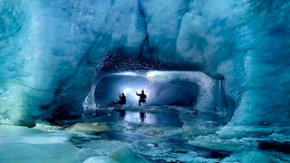 Being inside an ice cave inside a glacier looks absolutely stunning