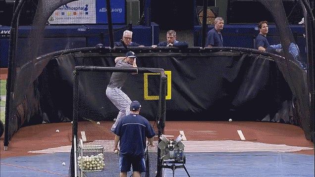 Matt Joyce Hits Ball Back Into Pitching Machine; Machine Fires It Again