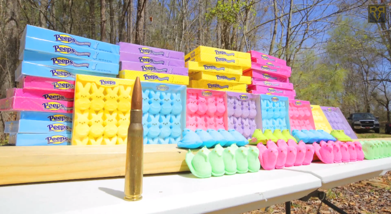 How Many Peeps Can A 50 Caliber Rifle Shoot Through?