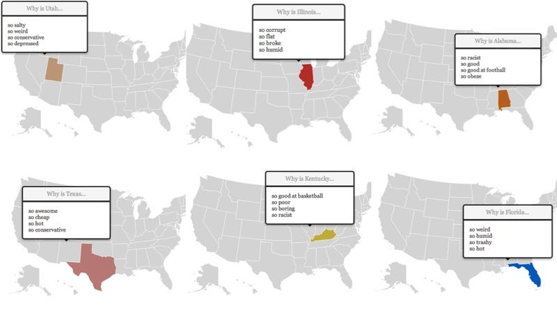 This Map of the United States of America Shows Every State's Stereotype Using Google Autocomplete