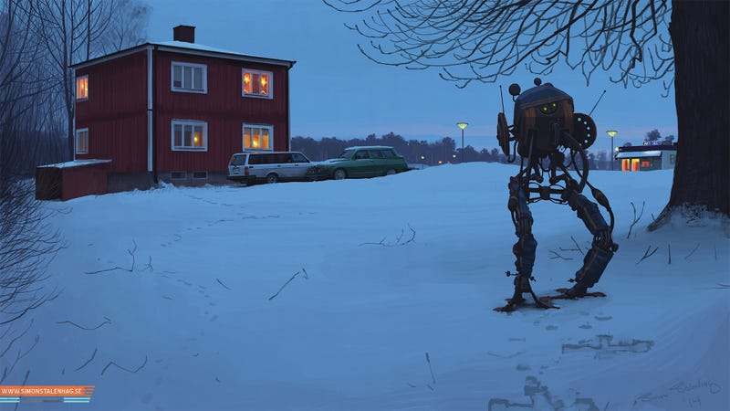 Cool paintings show the everyday life of a post-futuristic world