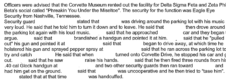 Man shot at, tasered and pepper-sprayed at Corvette Museum over a song