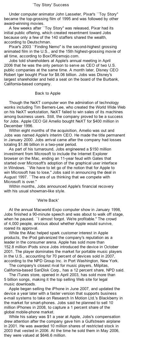 Steve Jobs's Obituary, As Run By Bloomberg