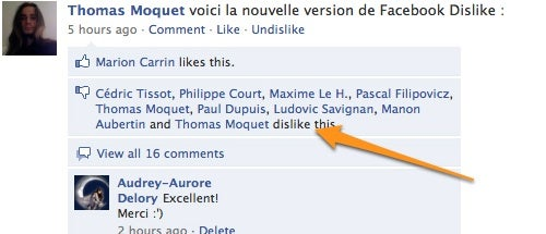 Dislike 0.2 Adds a Disapproving Dislike Button to Facebook