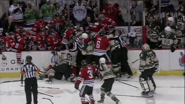 Hockey Fight Erupts In, And Around, The Benches