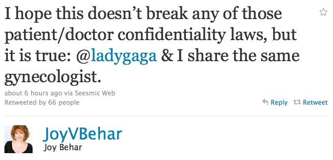 Lady Gaga & Joy Behar Have The Same Gynecologist