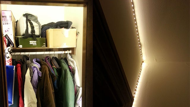 Use Rope Lights and an Automatic Switch to Illuminate a Small Closet