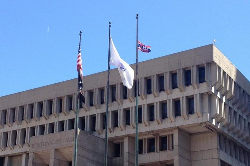 Boston Barely Honors Bet, Flies World's Tiniest Habs Flag At City Hall