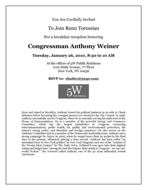 Ronn [sic] Torossian Is Throwing a Party for Anthony Weiner