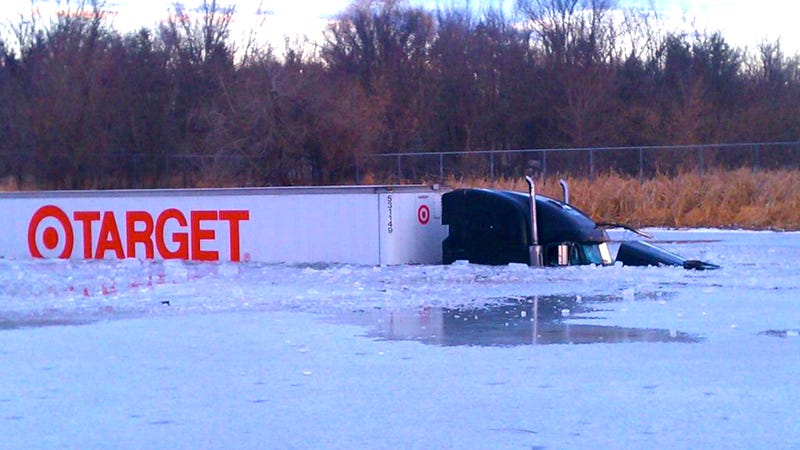 How Did This Semi End Up In A Frozen Lake?