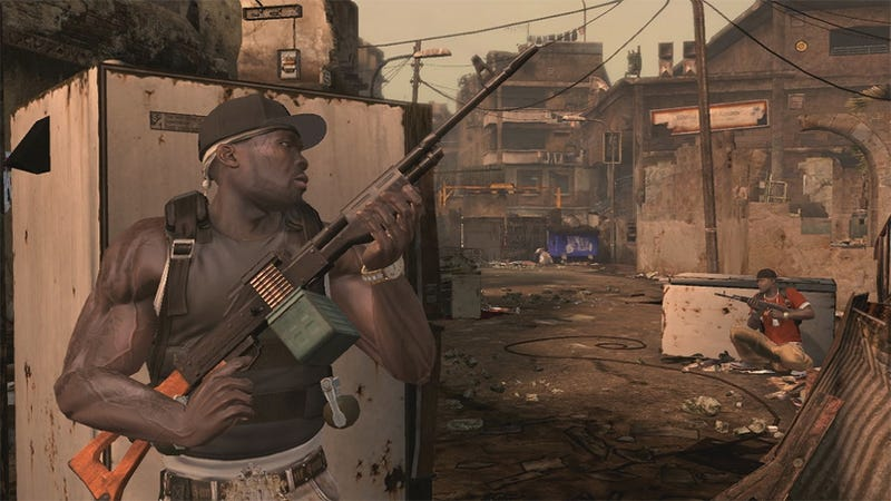 50 Cent Takes Cover In New Blood On The Sand Clip