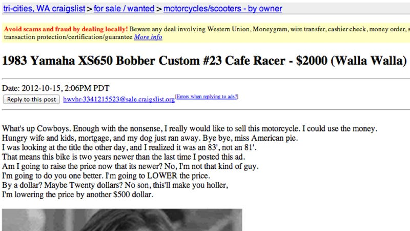 This Craigslist Ad For An '83 Yamaha Makes Bad Photoshopping Look Inexplicably Awesome