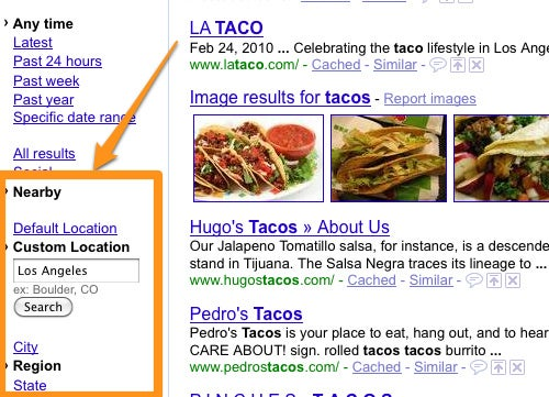 Google Adds Location Filters to Search Results