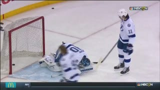 Lightning Goalie Ben Bishop Takes Puck To The Testicles Before Game 5
