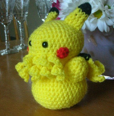 The love child of Cthulhu and Pikachu, crocheted for maximum cuteness