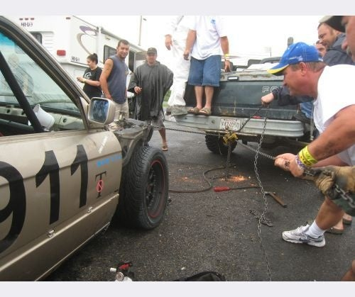 Cajun E30 Bashes Wall 200 Feet Into Race, Gets Field Expedient Frame Straightening