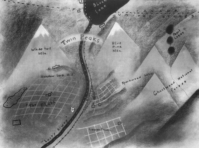 Check out David Lynch's original map of Twin Peaks