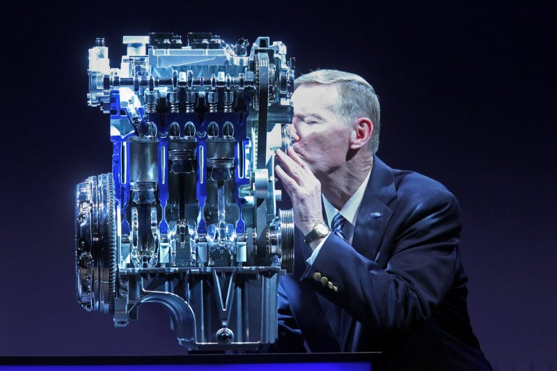 Alan Mulally Makes Out With The Seven Millionth Ford Transit Van