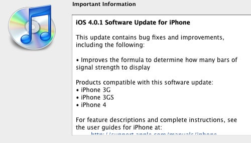 iPhone 4.0.1 Update Improves Signal Strength Formula, iPad 3.2.1 Adds Several Fixes