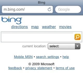 Bing Mobile Formats Search Results for Your Phone