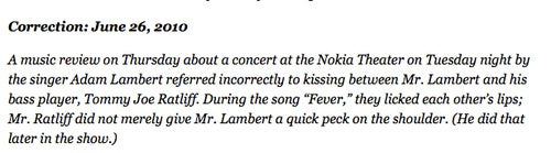 New York Times Adam Lambert Correction: 'They Licked Each Other's Lips'