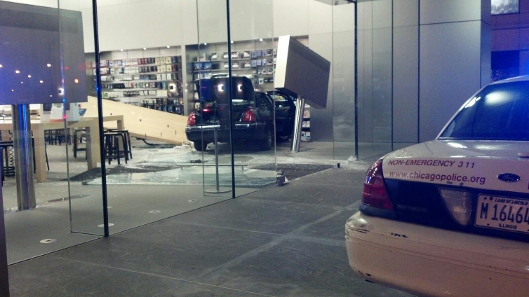 Car Crashes Directly into Chicago Apple Store (Updated)