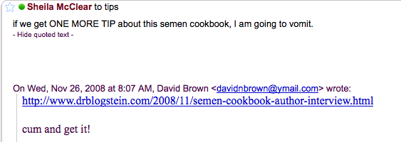 Enough With the 'Semen Cookbook' Already