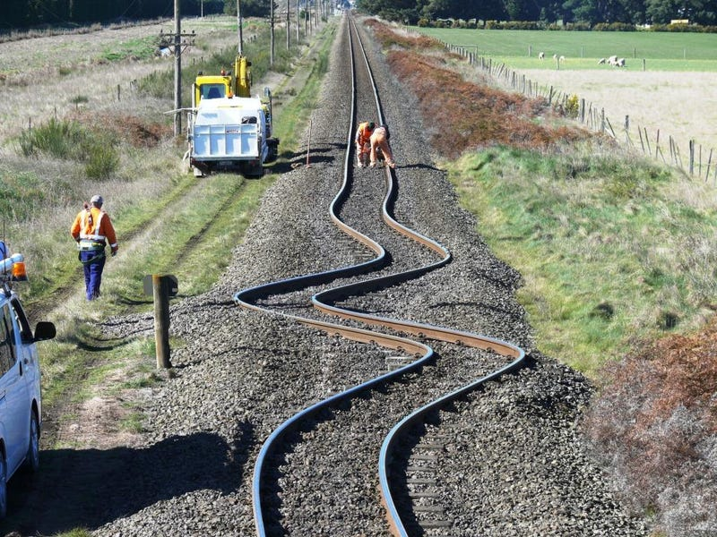 The Power of an Earthquake Turns Train Tracks to Spaghetti