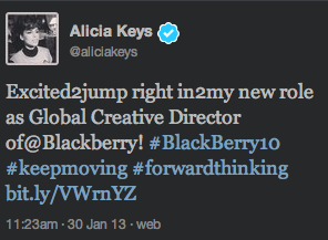 BlackBerry Spokesperson Alicia Keys Tweets From Her iPhone