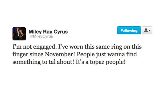Listen, You Gossipmongers: Miley Cyrus Is Not Getting Married