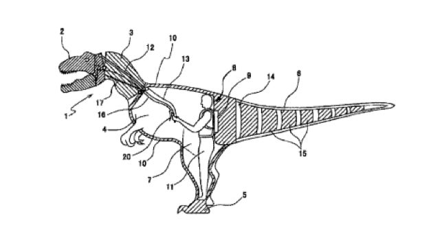 This is what the patent for a dinosaur suit looks like