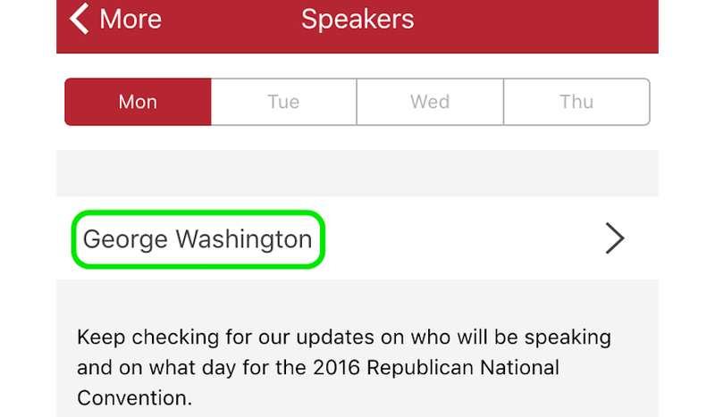"""The RNC's Only Scheduled Speaker Is George """"I've Been Dead for 200 Years"""" Washington"""