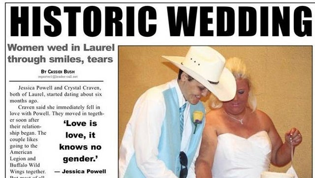 Mississippi Newspaper Owner Lets Homophobic Readers Have It After They Cancel Subscriptions Over Coverage of 'Historic' Same-Sex Wedding [UPDATE]