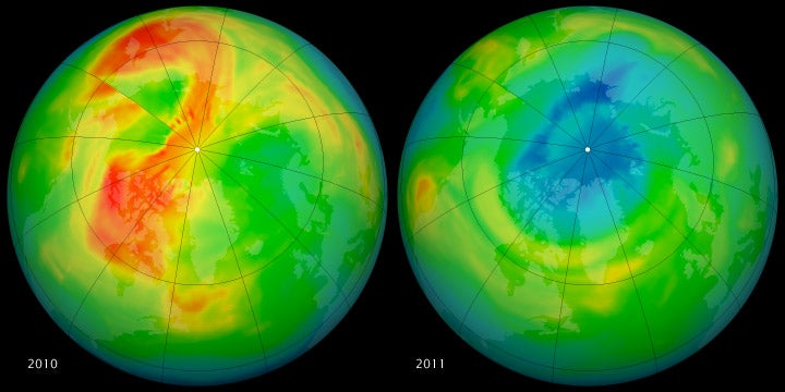 Arctic ozone levels dropped by as much as half in the past year