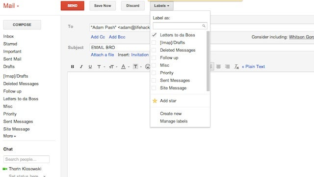 Star and Label Gmail Messages Before You Hit Send to Help Remember to Follow Up