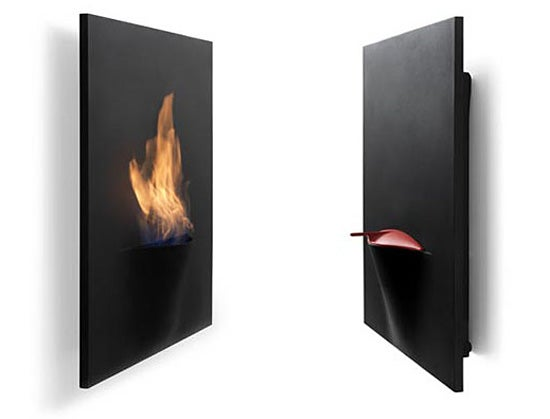 Safretti's Latest Wall-Mounted Gaya Fireplace Looks Like a Flaming Mouth