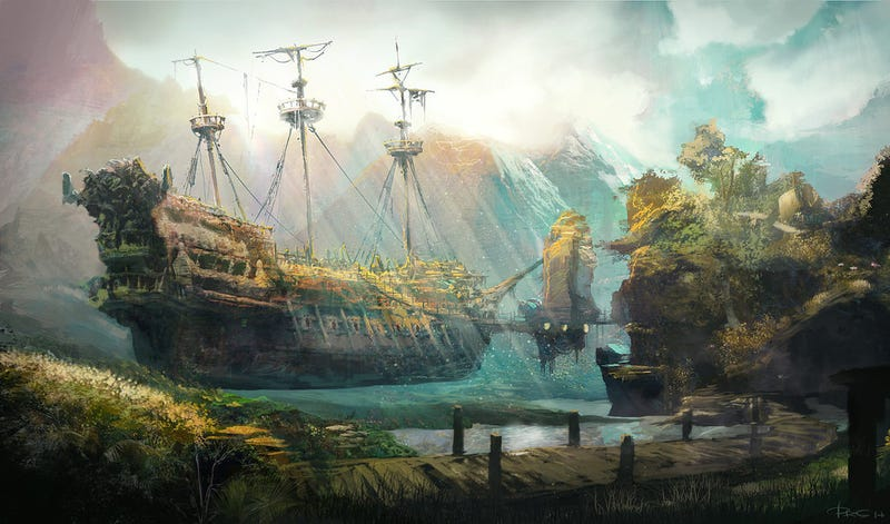 These Magical Flying Ship Illustrations Will Be Your New Desktops Steampunk Floating City