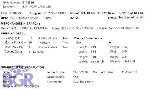 Best Buy Product Sheet Backs BlackBerry Storm November 16th Release