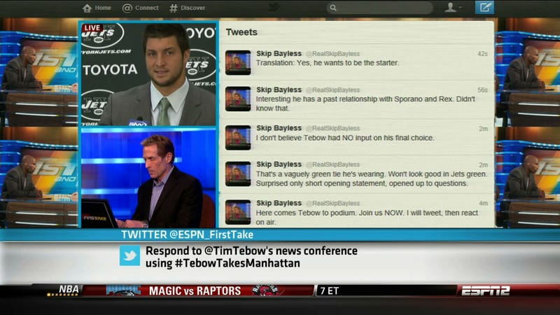 In A New Low For The Worldwide Leader, ESPN2 Is Currently Broadcasting Skip Bayless Tweeting About Tebow