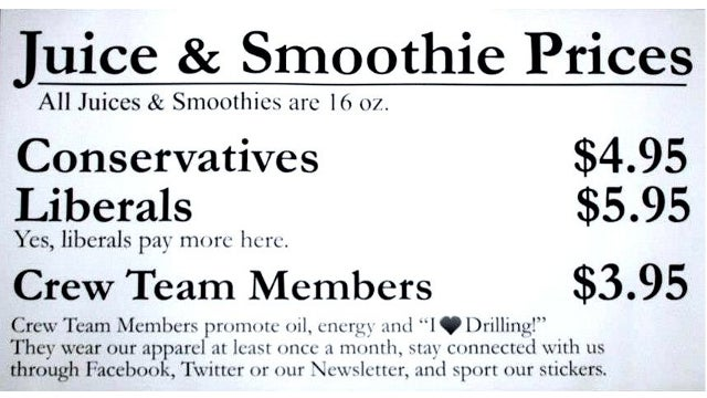 Oil-Loving Smoothie Bar Owner 'Taxes' Liberals One Dollar Extra Per Drink