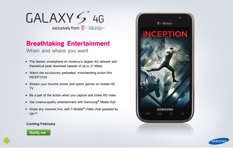 Samsung Galaxy S 4G Coming to T-Mobile This Month