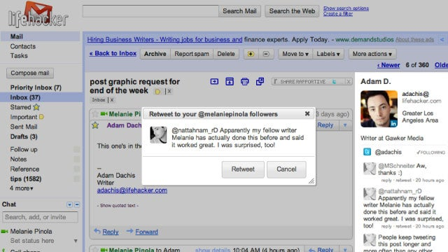 Use Gmail as a Sort of Twitter Client with Rapportive